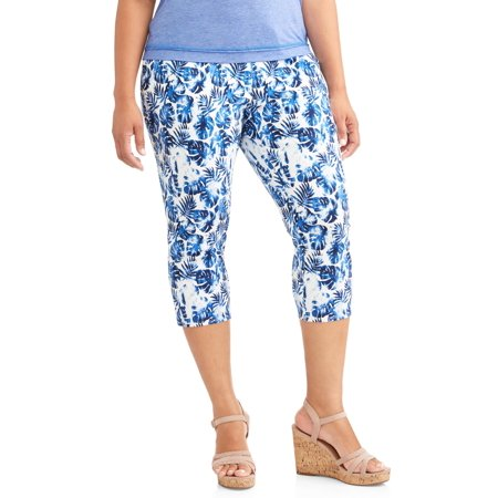 3481a1cff03 Terra   Sky - Women s Plus Printed Capri Jegging - Walmart.com