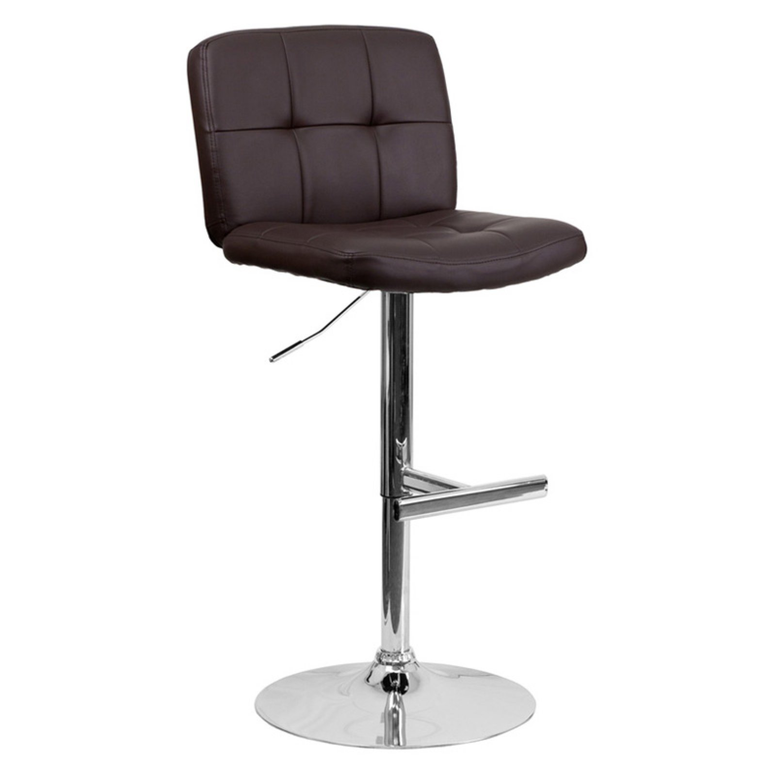 Contemporary Vinyl Adjustable Height Barstool With Wide