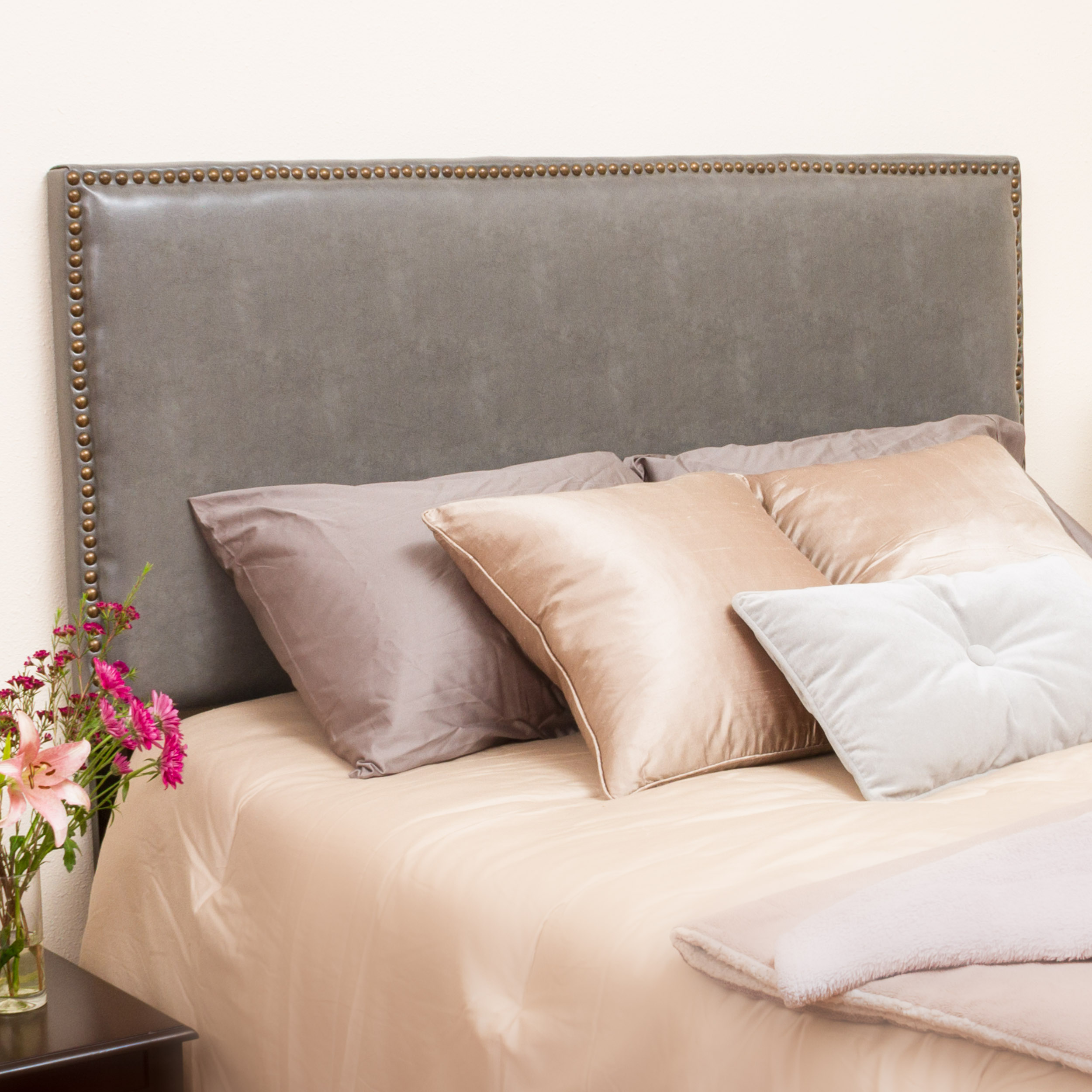 Noble House Franklin Queen Grey Leather Headboard