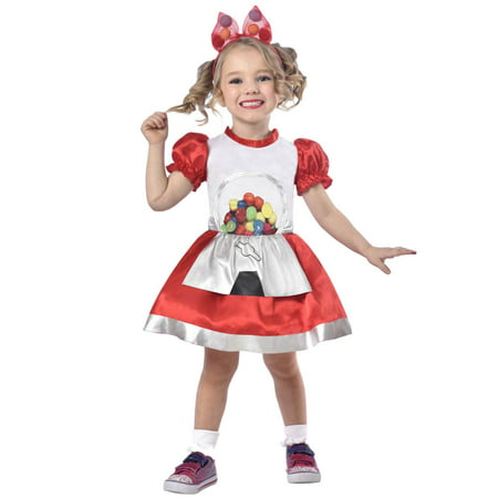 Toddler Girls Gumball Machine Cutie Costume With Gum Ball Dress & Headband for $<!---->