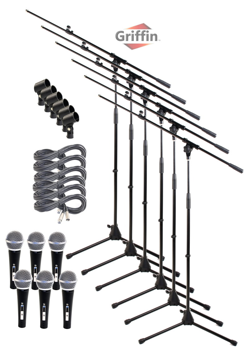 Microphone Boom Stand Package with Cardioid Vocal Microphones & XLR Mic Cables (Pack of 6)... by Griffin