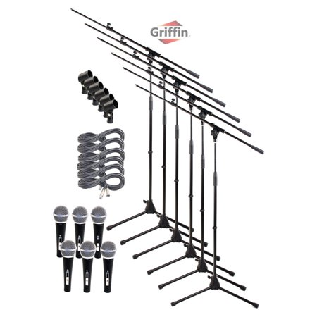 Microphone Boom Stand Package with Cardioid Vocal Microphones & XLR Mic Cables (Pack of 6) by Griffin Telescoping Arm Holder with Tripod Mount Handheld Unidirectional Mics for Music Studio Recording