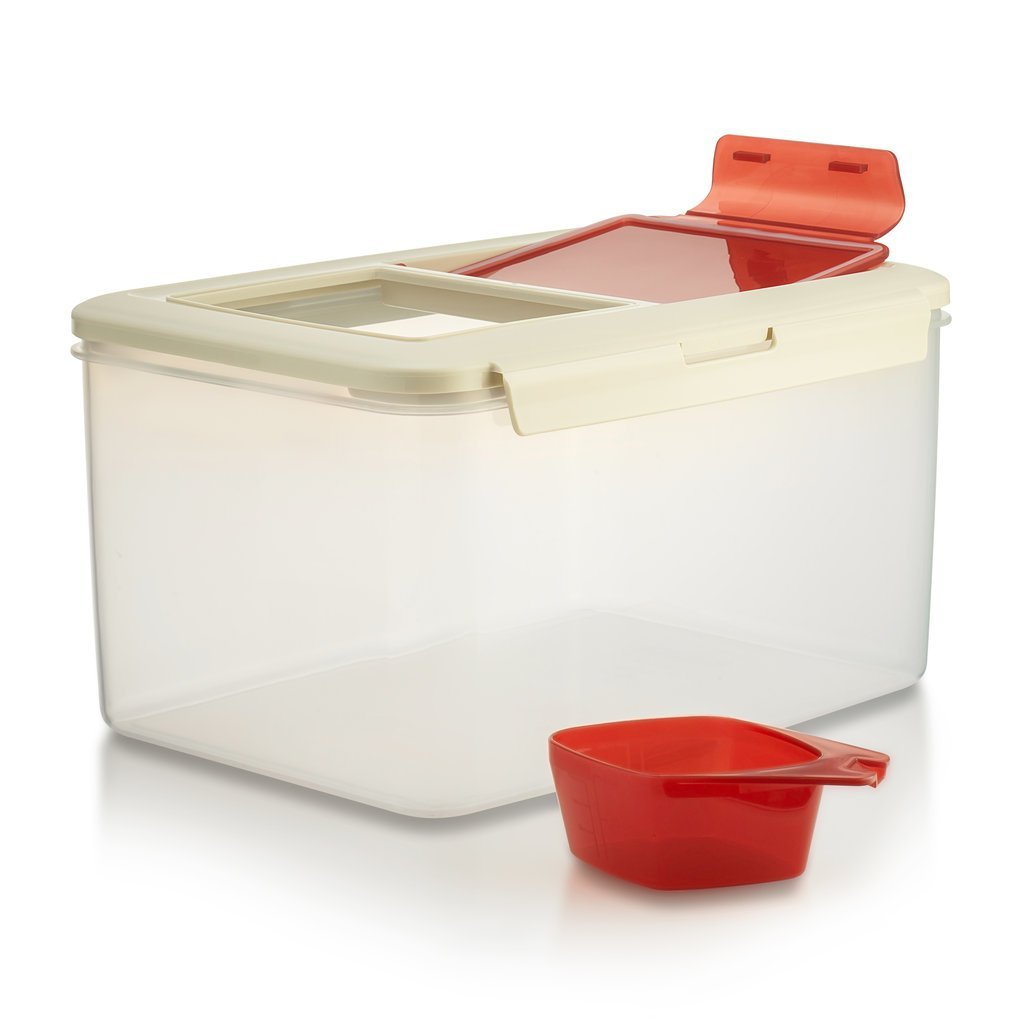 Komax Biokips Large (11.5L) Fresh Grain Dry Food Plastic Storage Container With Locking Lid & Measuring Scoop (1 cup ) For Rice, Flour & Pet... by Komax