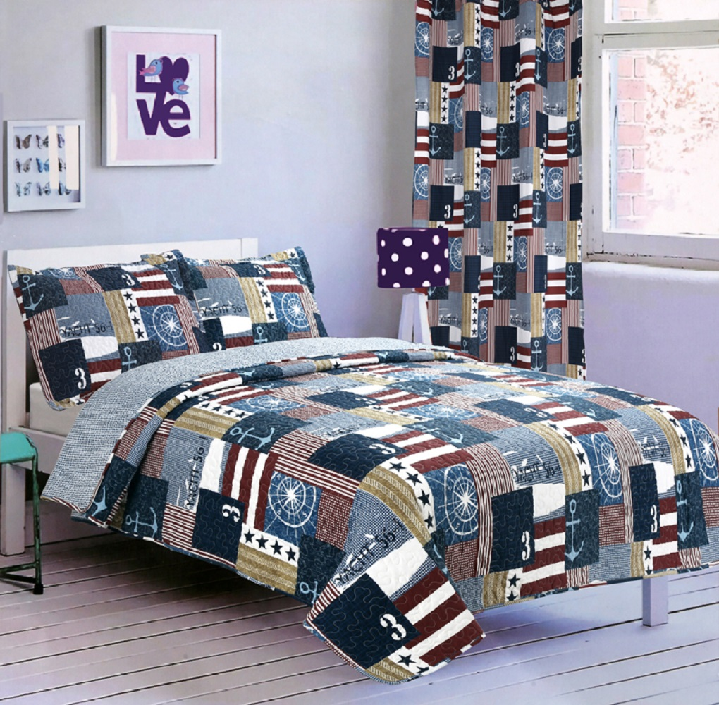 Click here to buy All American Collection New 2pc Printed Modern Patchwork Bedspread Coverlet Set by American Linen & Rugs.