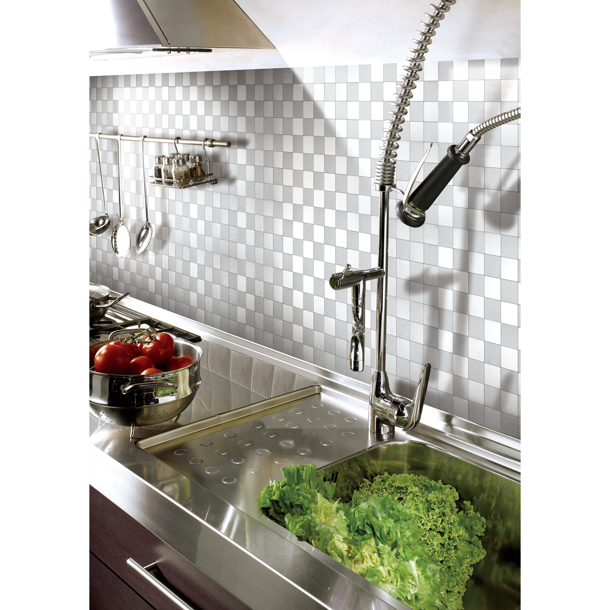 "Art3d Self-adhesive Metal Backsplash Peel and Stick Kitchen Tile, 12"" x 12"" Silver"