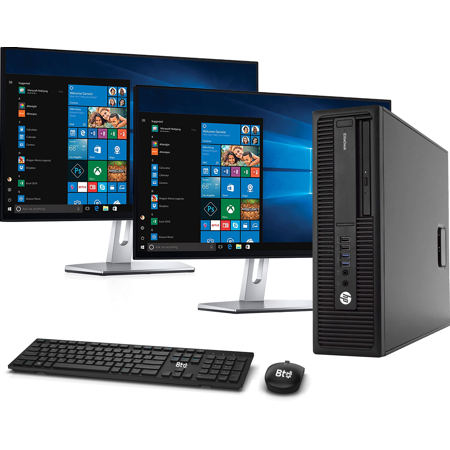 "HP 800 G1 SFF Computer Desktop PC, Intel Core i5 3.2GHz Processor, 16GB Ram, 128GB M.2 SSD, 1TB HDD, BTO Wireless Keyboard & Mouse, Wifi   Bluetooth, HP New Dual 23.8"" Monitor, Win 10 Pro (Renewed)"