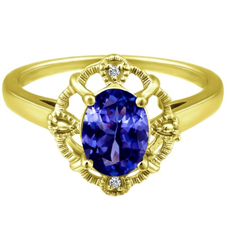1.59 tcw Oval Cut cr Sapphire & Round Diamond Antique Ring Solid 10k Yellow Gold ()