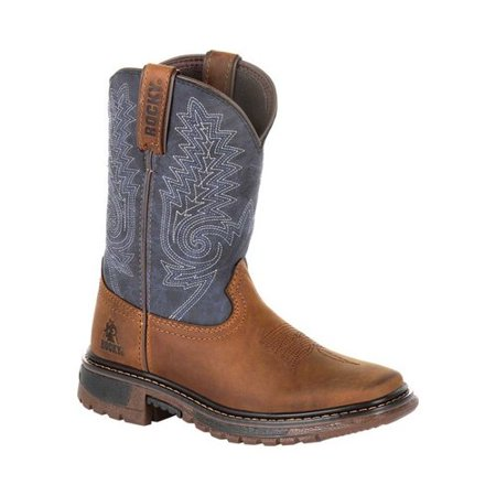 Rocky Kids' Ride FLX RKW0255C Children Denim/Brown Leather Western Boots