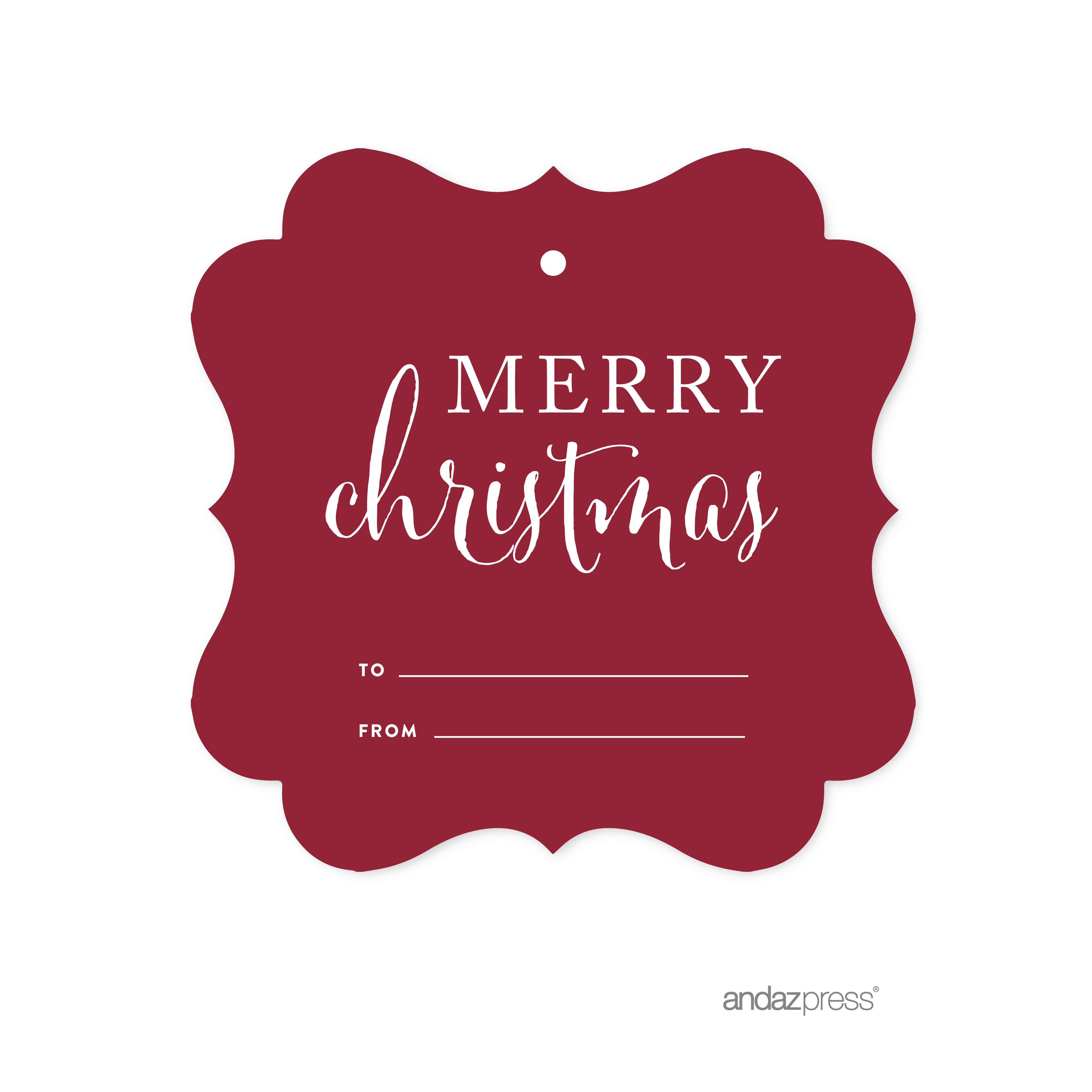Merry Christmas - Red Red Christmas Fancy Frame Gift Tags, 24-Pack