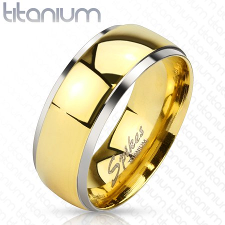 6mm Smooth Stepped Edge w/ Gold IP Dome Band Solid Titanium Women's Ring (SIZE: 8) (B W Step Up Ring)