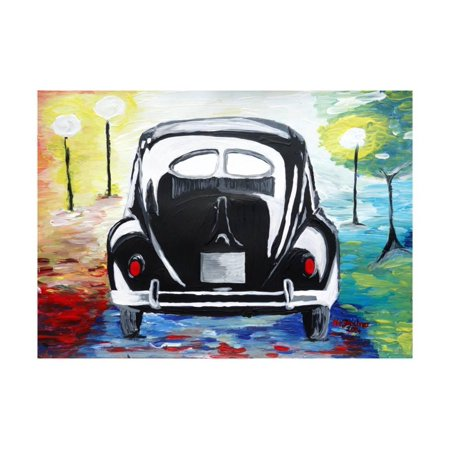 Surf VW Bug Series - The Black Volkswagen Bug Split Window Print Wall Art By Martina Bleichner