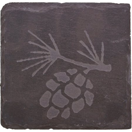 Thirstystone Slate Drink Coasters, Etched Pine Cone