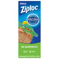 Ziploc Brand Sandwich Bags with Grip 'n Seal Technology, 50 Count