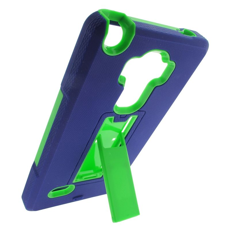 Insten Symbiosis Rubber Hybrid Hard Case with stand For LG G Stylo / G Vista 2 - Blue/Green - image 3 de 4