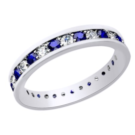 (1.25ct) Simulated Blue Sapphire & White Diamond Eternity Wedding Band Ring In 14k Solid Gold With Ring Size 4