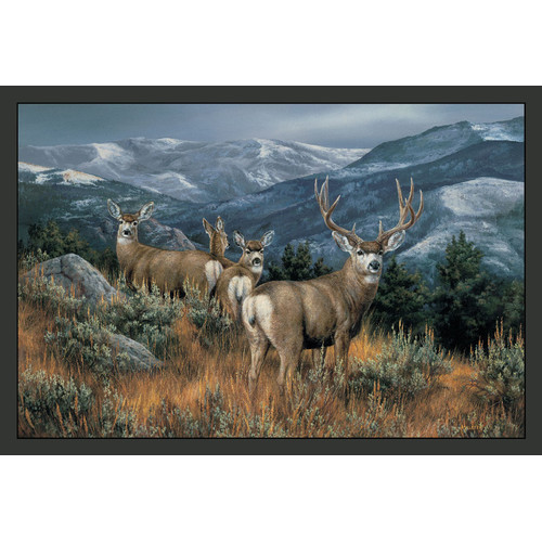 Custom Printed Rugs Wildlife Last Glance Mule Deer Novelty Area Rug