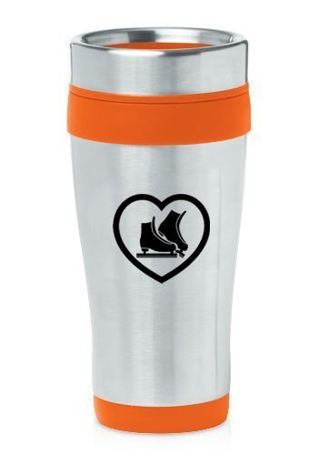 Orange 16oz Insulated Stainless Steel Travel Mug Heart Ice Skates,MIP by