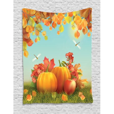 Harvest Tapestry, Fall Season Yield Thanksgiving Image Fallen Leaves Branches Pumpkins, Wall Hanging for Bedroom Living Room Dorm Decor, Orange Vermilion Green, by Ambesonne