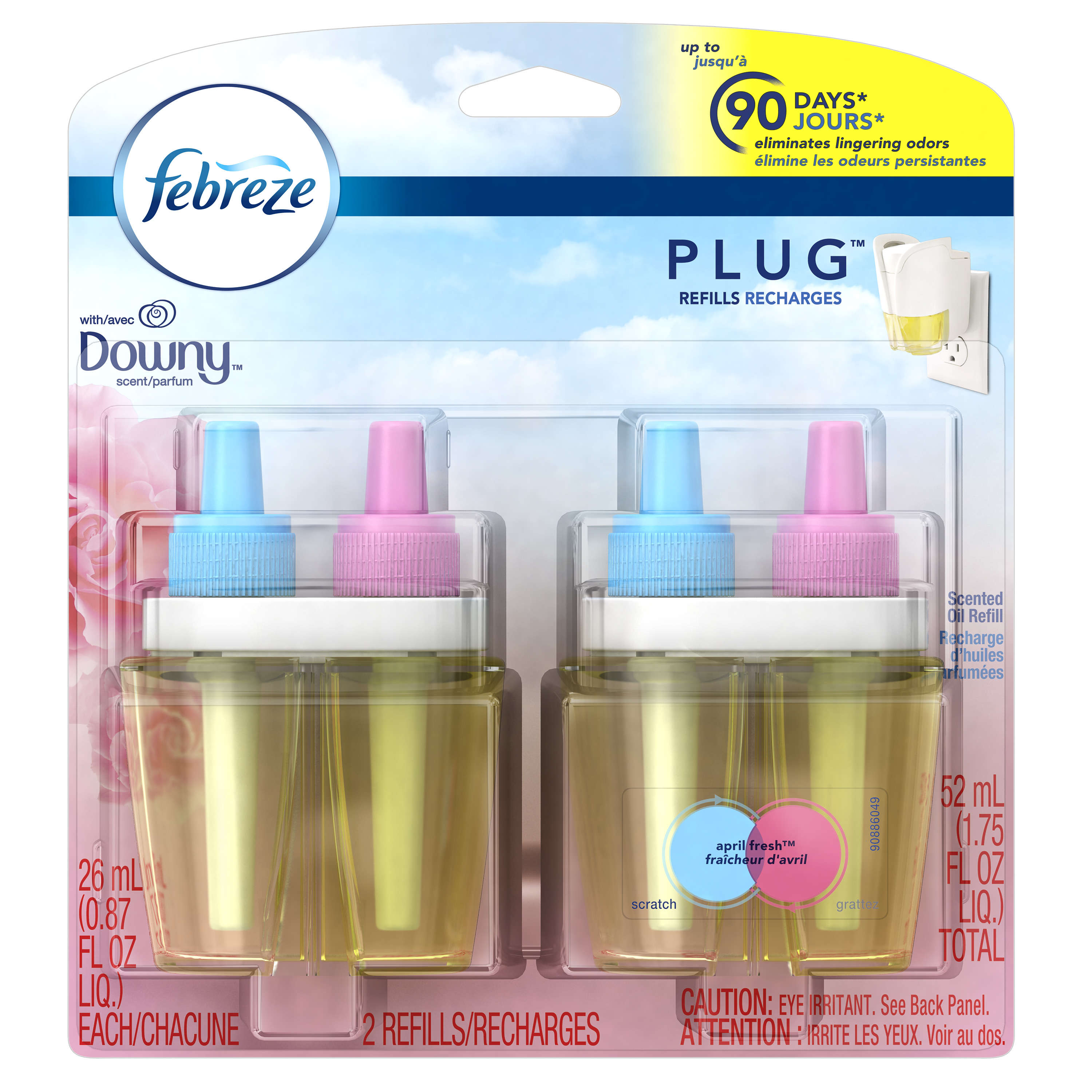 Febreze Plug In Scented Oil Air Freshener Refills, April Fresh with Downy, 2 x 0.87 Fl Oz