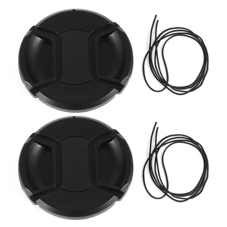 Unique Bargains 2 Pcs 67mm Center Pinch Lens Cap Cover w Strap Leash for DLSR Digital Cameras (Camera Lens Strap)