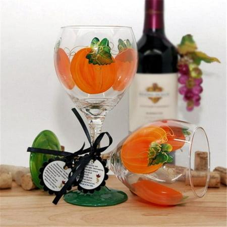 Judi Painted it PMKN Pumpkin Wine Glass](Halloween Painted Wine Glasses)