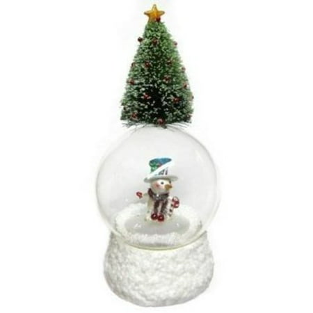 San Francisco Music Box Company   Tree Topped Snowman Water Globe Multi Colored
