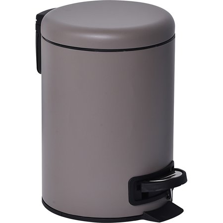 Nordic Collection Soft Close Small Round Metal Bath Floor Step Trash Can Waste Bin 3-liters/0.8-gal