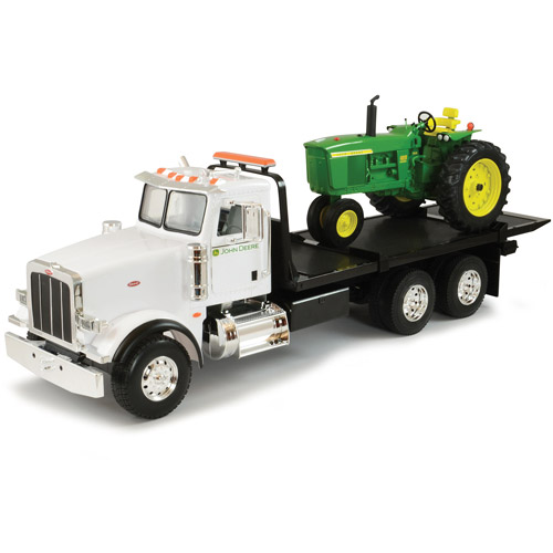 TOMY ERTL Big Farm 1:16 Peterbilt Model 367 Dealership Delivery Truck with Roll Off and 4020 Tractor