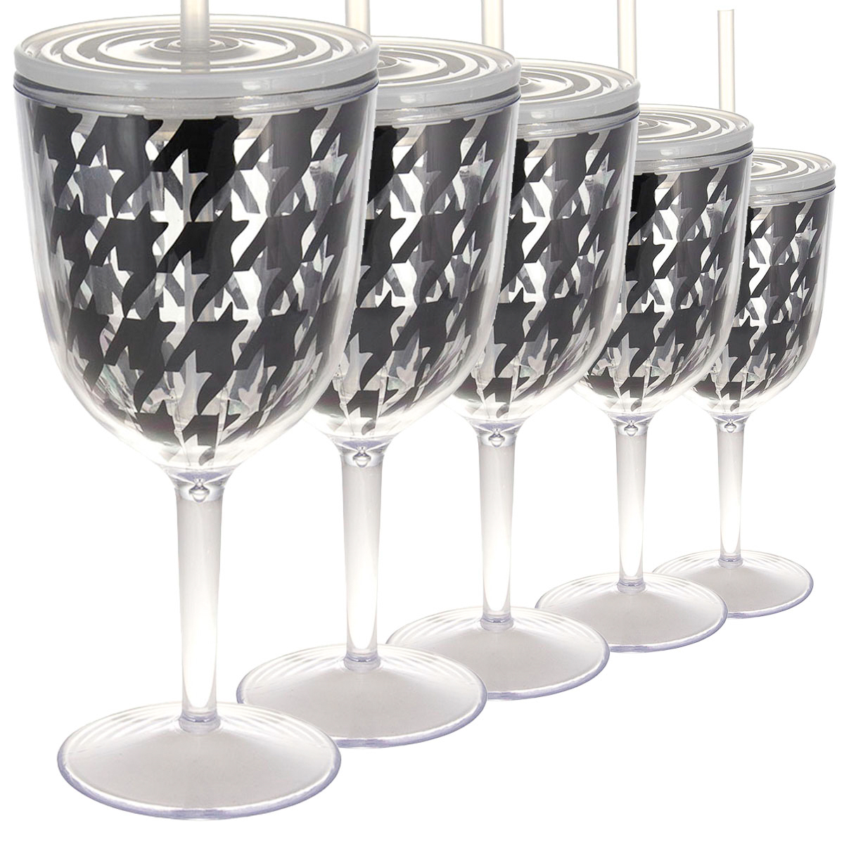 Set of 6 Black Houndstooth 13oz Wine Glasses With Lids Straws Double Wall Insulated Reusable Acrylic