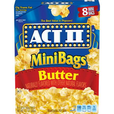 Mini Popcorn Bags (ACT II Butter Microwave Popcorn, 8-Count 1.1-oz. Mini)