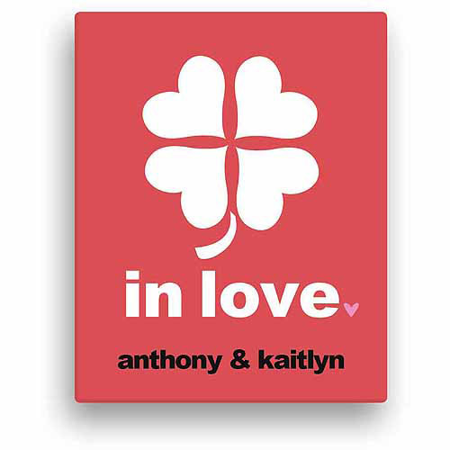 Lucky In Love Personalized Shamrock Canvas