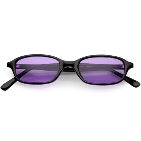 8d5826aae7 sunglassLA - True Vintage Small Horn Rimmed Rectangle Sunglasses Color  Tinted Lens 46mm (Black   Purple) - Walmart.com