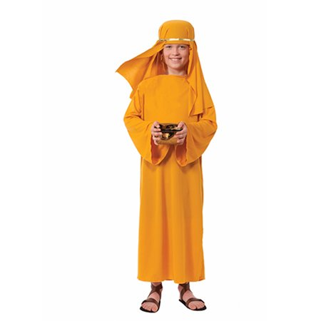Child Boys Christian Biblical Shepherd Gold Nativity Wise Man Robe Costume (Shepherds Costume For Kids)