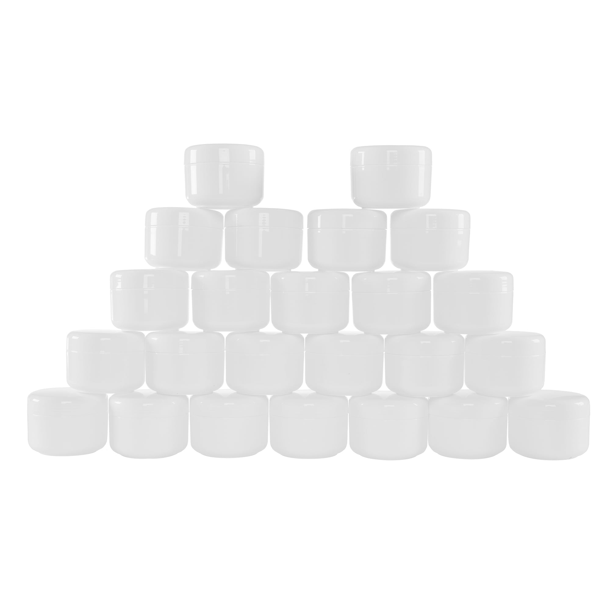 White 2 Ounce Plastic Jar Containers, 24 Pack of Storage Jars with Inner and Outer Lid By Stalwart Travel,... by Trademark Global LLC
