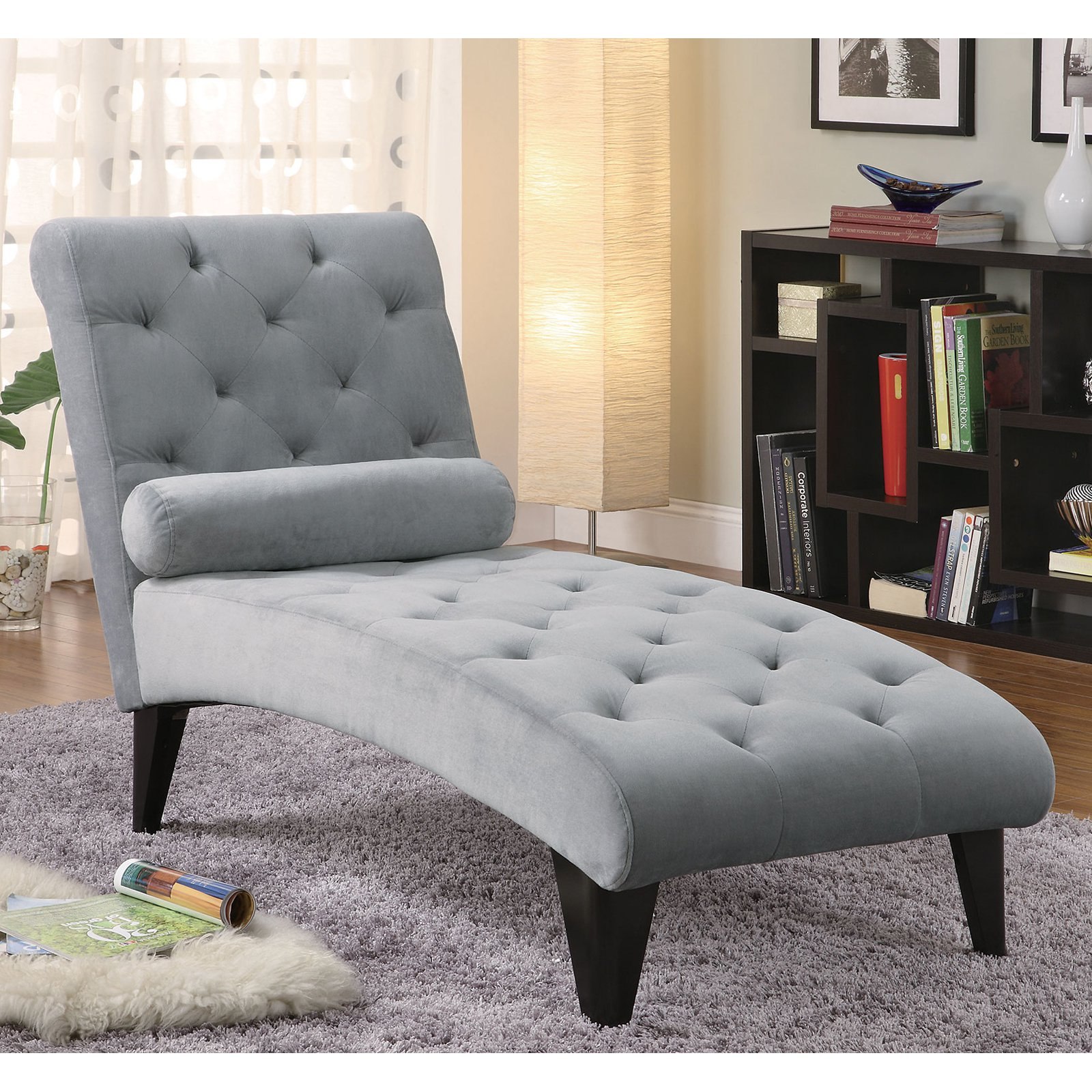 Coaster Accent Seating Soft Gray Velour Tufted Chaise in Black Finish