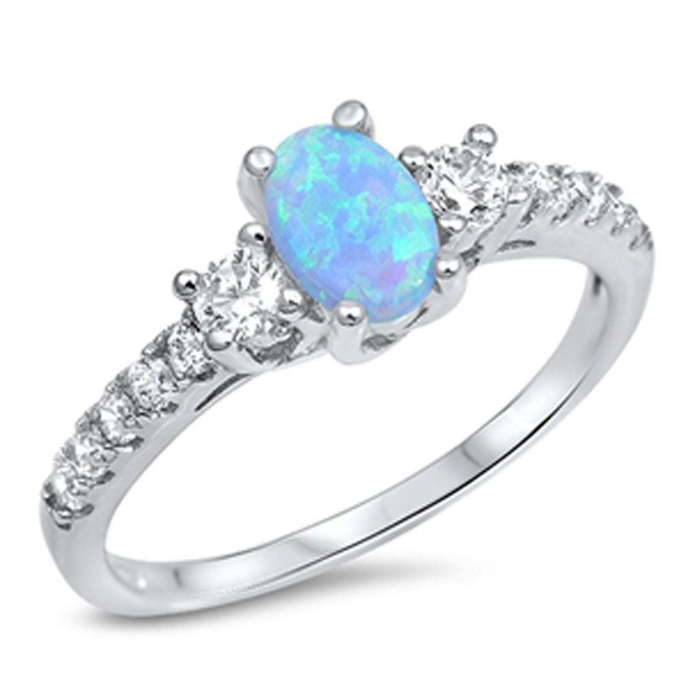 Blue Simulated Opal Oval Solitaire White CZ Wedding Ring ( Sizes 4 5 6 7 8 9 10 11 12 ) Sterling Silver Rings by Sac Silver (Size 11)