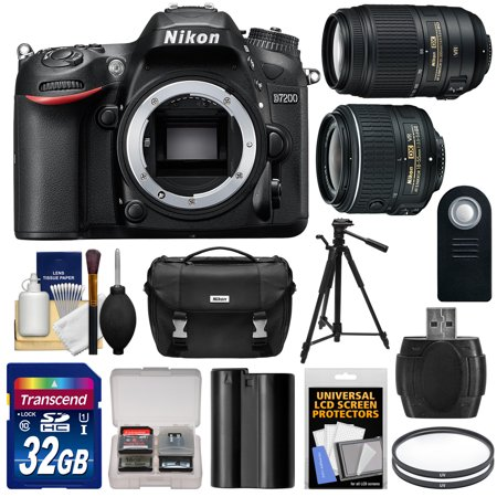 nikon d7200 wi fi digital slr camera body factory refurbished with 18 55mm vr ii 55 300mm. Black Bedroom Furniture Sets. Home Design Ideas