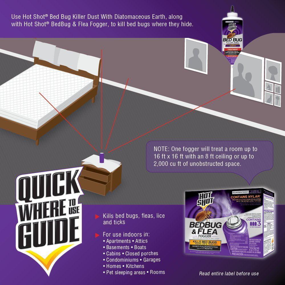 Hot Shot Bedbug And Flea Fogger 2 Ounce Cans 3 Count With Nylar Walmart Com Walmart Com