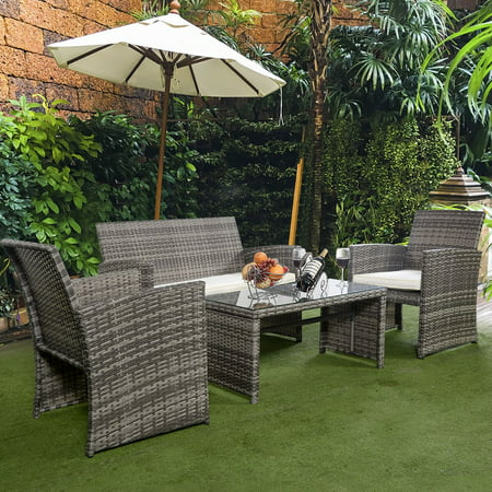 Costway 4 Pc Rattan Patio Furniture Set Garden Sofa with White Cushions ()