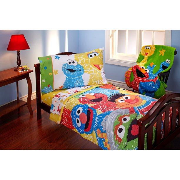 Sesame Street Scribbles 4pc Toddler Bed, Elmo Bedding Queen Size