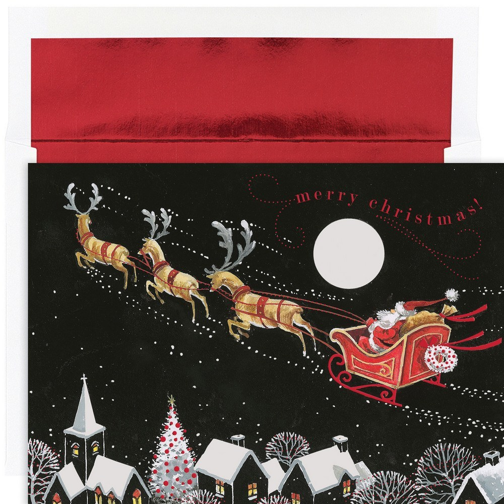 JAM Paper Christmas Card Set, Santa Sleigh Holiday Cards, 16 Cards & Envelopes/Pack