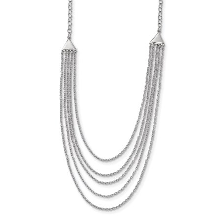 925 Sterling Silver Multi Strand Chain Necklace Pendant Charm Fancy Layer Gifts For Women For (Fancy Cabochon 925 Silver Pendant)