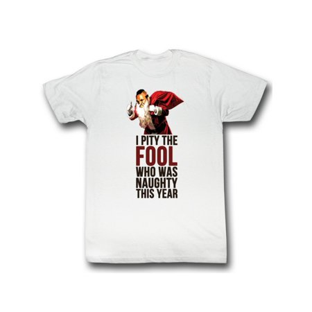Mr. T 1980's Wrestler as Santa Pity the Naughty Fool Christmas Adult T-Shirt](Mr T Pity The Fool)