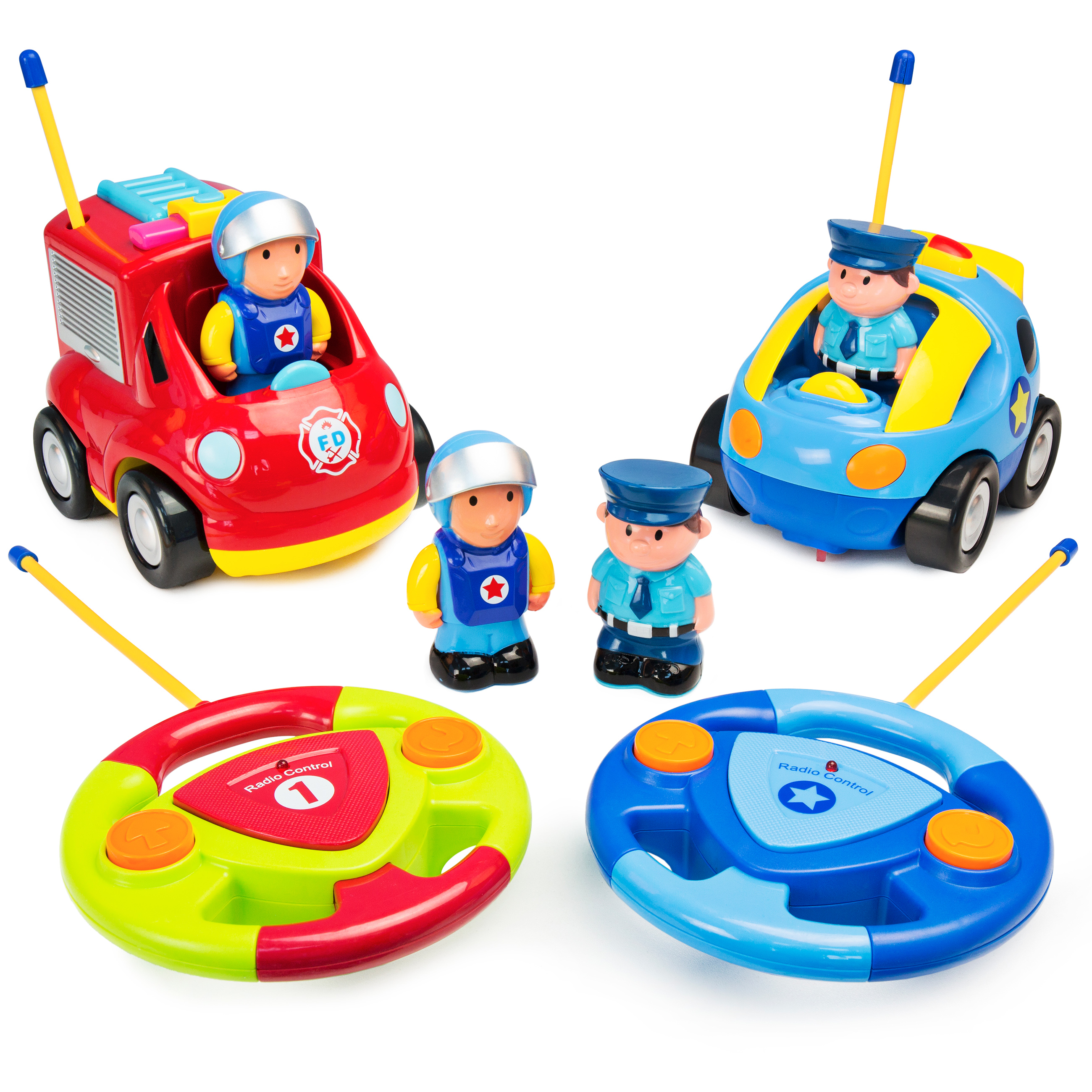 Best Choice Products Set of 2 Kids Cartoon Remote Control RC Firetruck and Police Car Toy w/ 2 Remotes, 2 Removable Action Figures - Multicolor