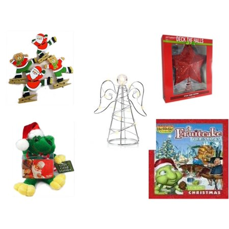 Christmas Fun Gift Bundle [5 Piece] - Set of 4 Wooden Clothes Pin Ornaments - Deck The Halls Red Star Tree Topper 11.5