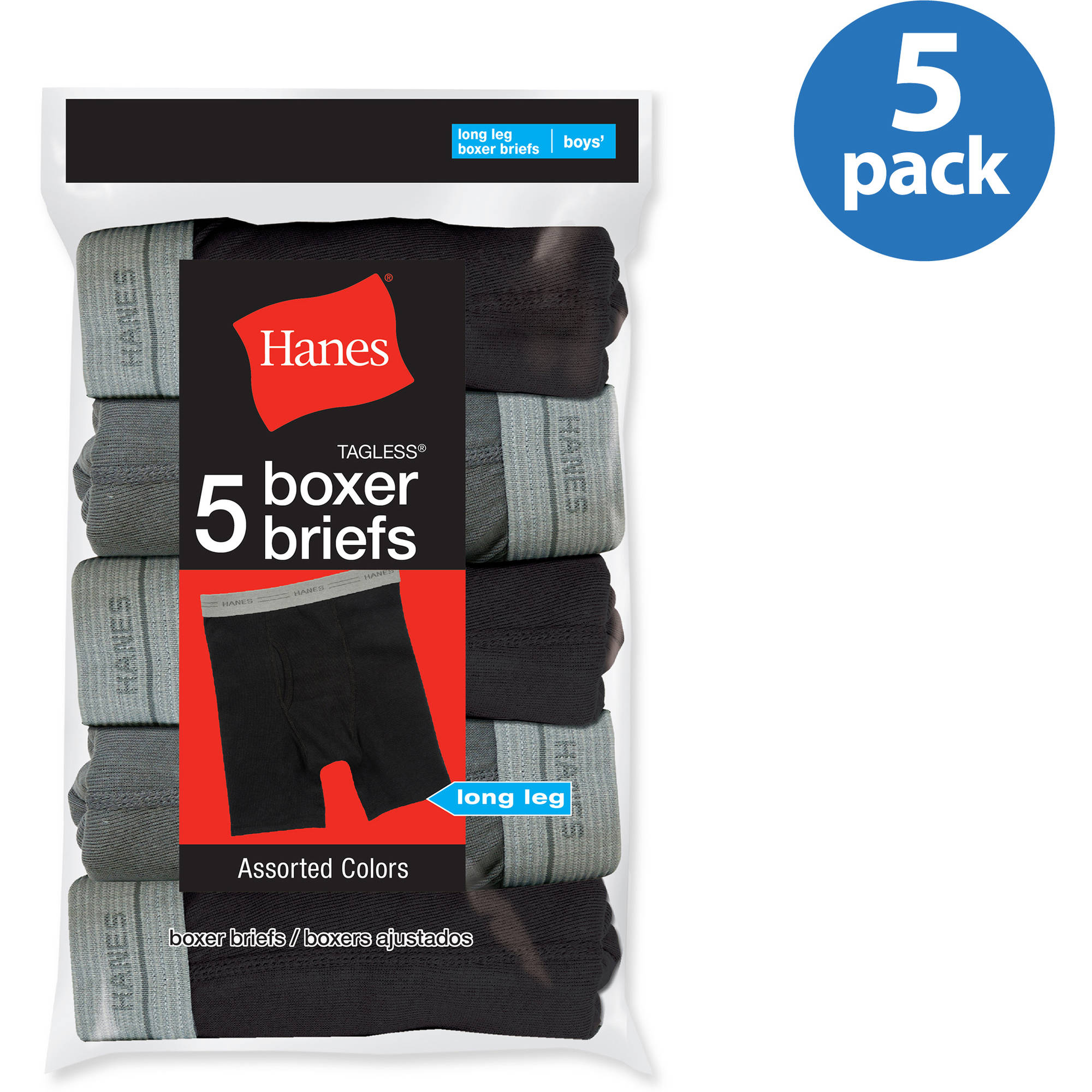 Hanes Boys Long Leg Boxer Brief 5 Pack