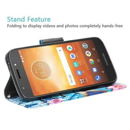 Moto E5 Plus Case, Moto E5 Supra Case,Cute Girls Women Pu Leather Wallet Case with ID Slot & Kickstand Phone Case for Motorola Moto E5 Plus - (Blue Butterfly) - image 4 of 6