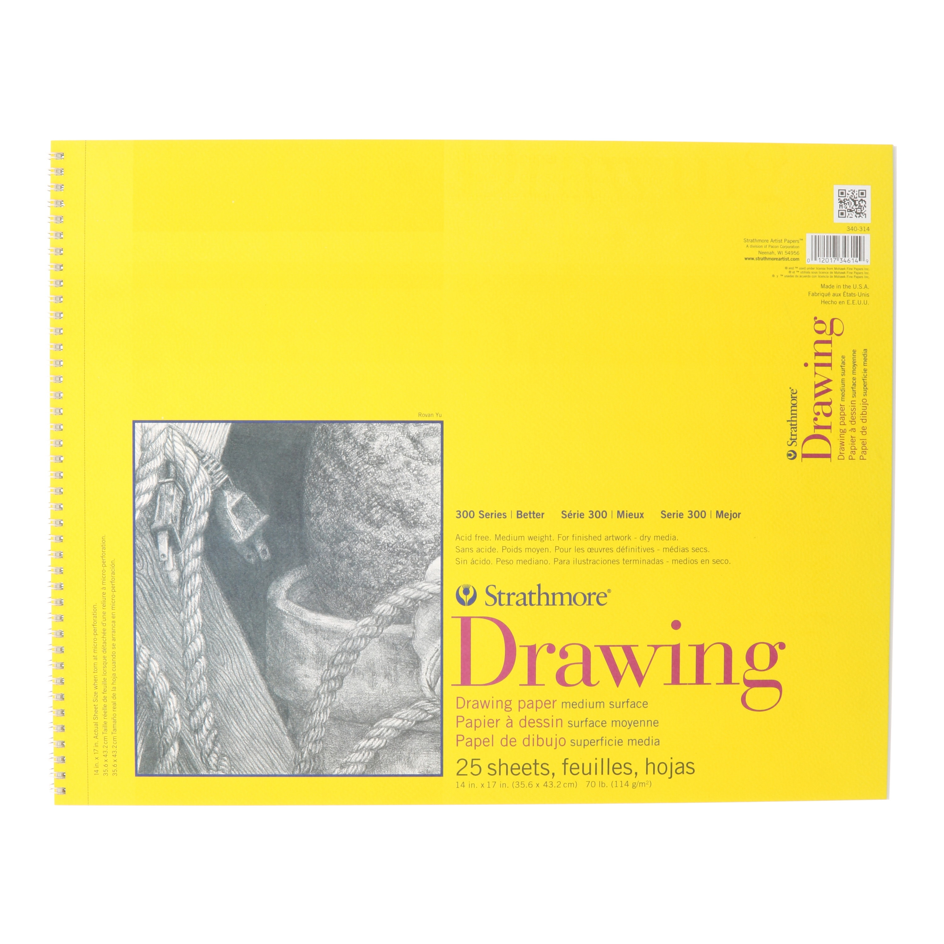 Strathmore Drawing Paper Pad, 300 Series, 25 Sheets, 14in x 17in