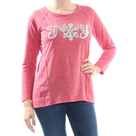 STYLE & COMPANY Womens Red Joy Graphic Print Long Sleeve Sweater Petites  Size: M