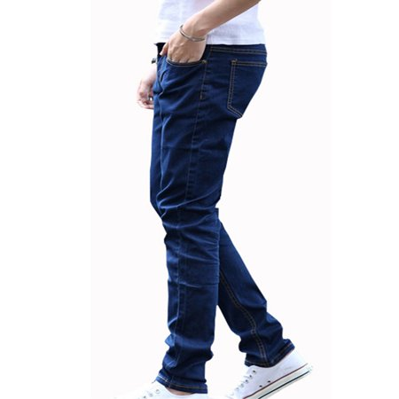 Men Fashion Casual All-match Straight Leg Jeans Pure blue 28